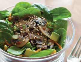 Asian Spinach Salad with Marinated Mushrooms Recipe | Vegetarian Times