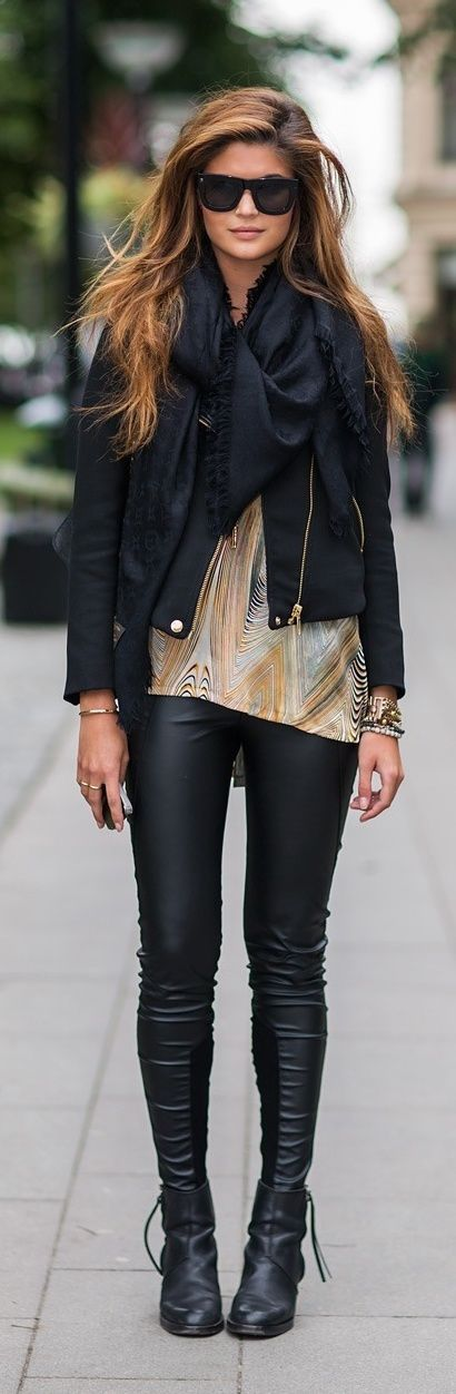 black scarf, leather jacket and leather tight