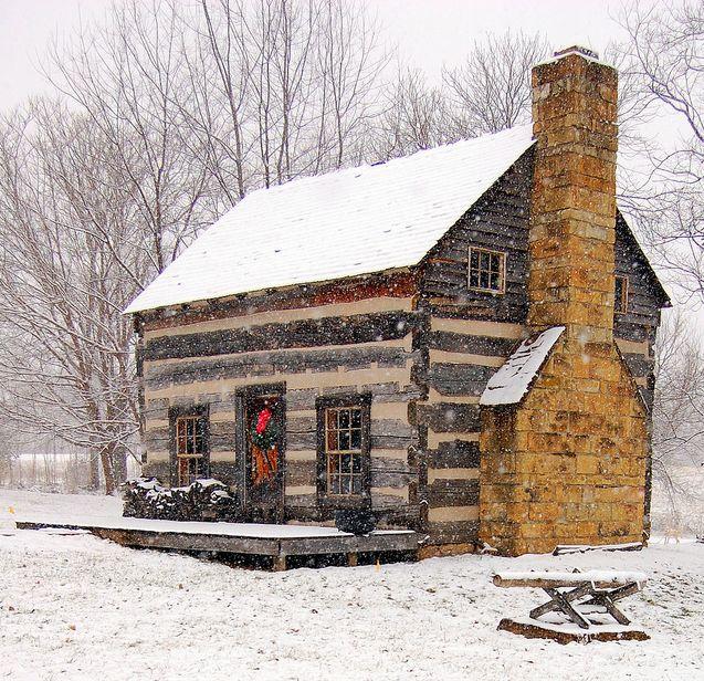 Log cabin let it snow pinterest