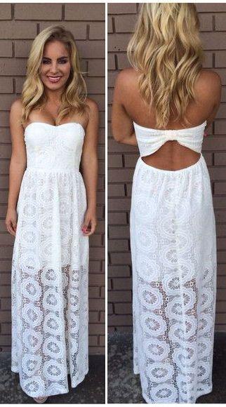 white doylee lace maxi strapless dress