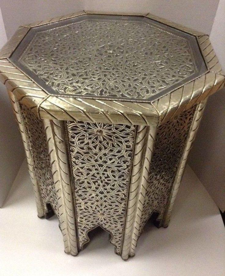 Moroccan Octagonal Table Engraved Metal Wood Arabic Design