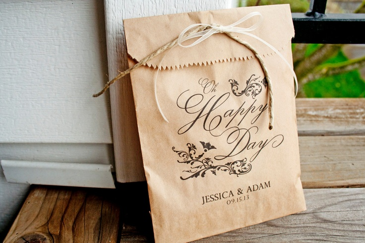 Wedding Favor Bags Brown : Brown Paper Favor Bags - Wedding Thank you Bag - Oh Happy Day - One B ...