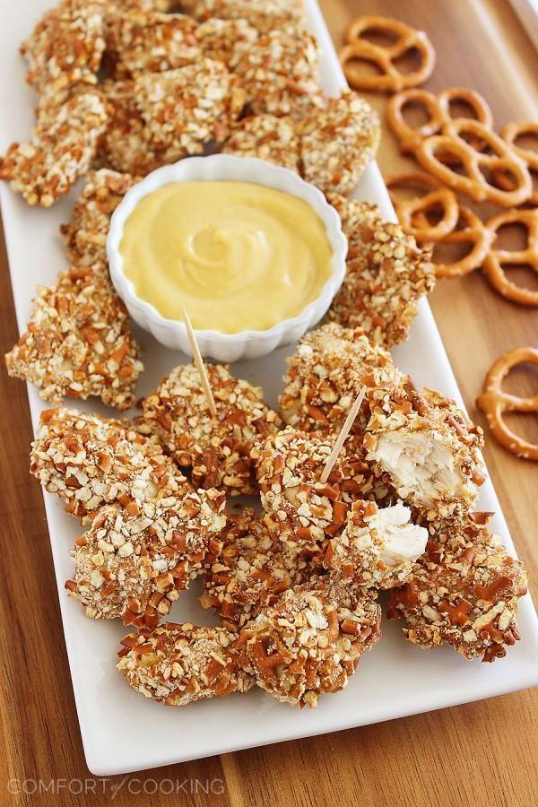 The Comfort of Cooking » Honey Mustard Pretzel Chicken Bites
