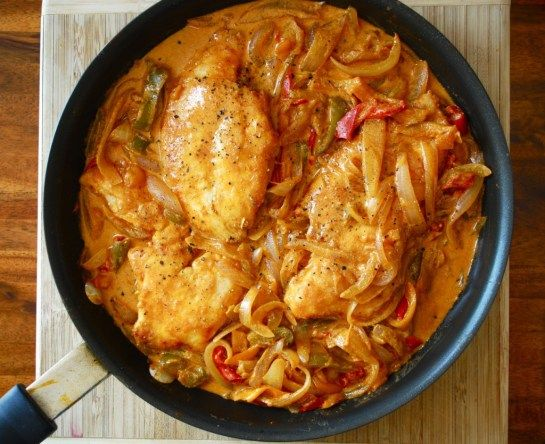 Chicken Paprikash...diced tomatoes, roasted bell peppers...