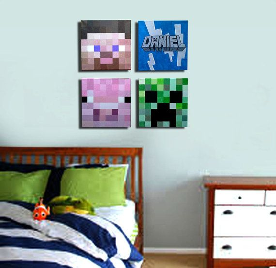 Wall Decorations Minecraft : Minecraft inspired wall decor kids room original acrylic
