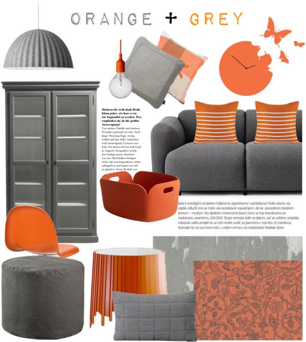 Orange Grey By Occahome On Polyvore Home Decorating Pin