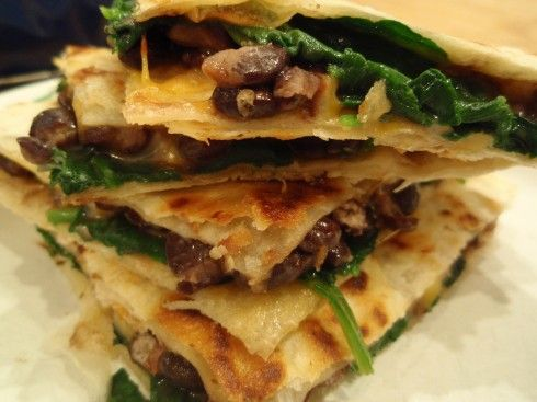 Spinach, Mushroom, & Black Bean Quesadillas - I'd use pepper jack ...