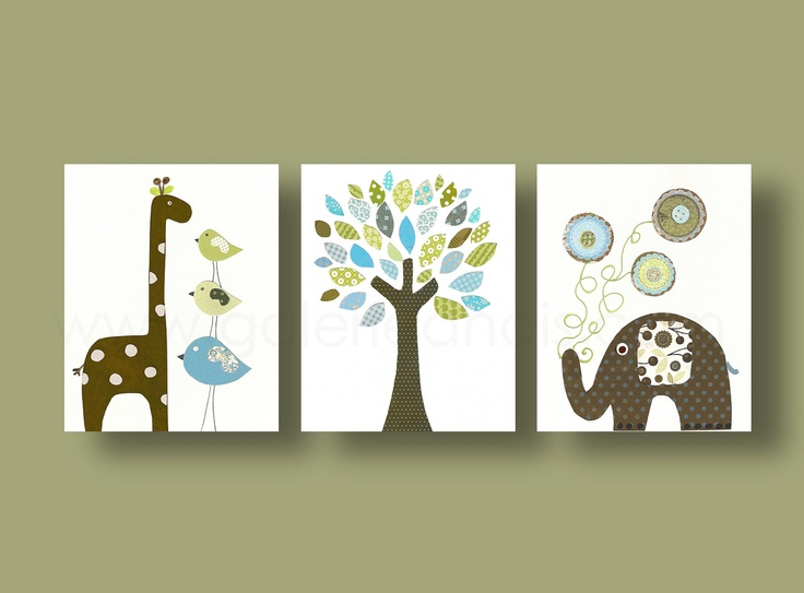 Elephant and giraffe nursery tree kids wall decor blue - Decoration jungle chambre bebe ...