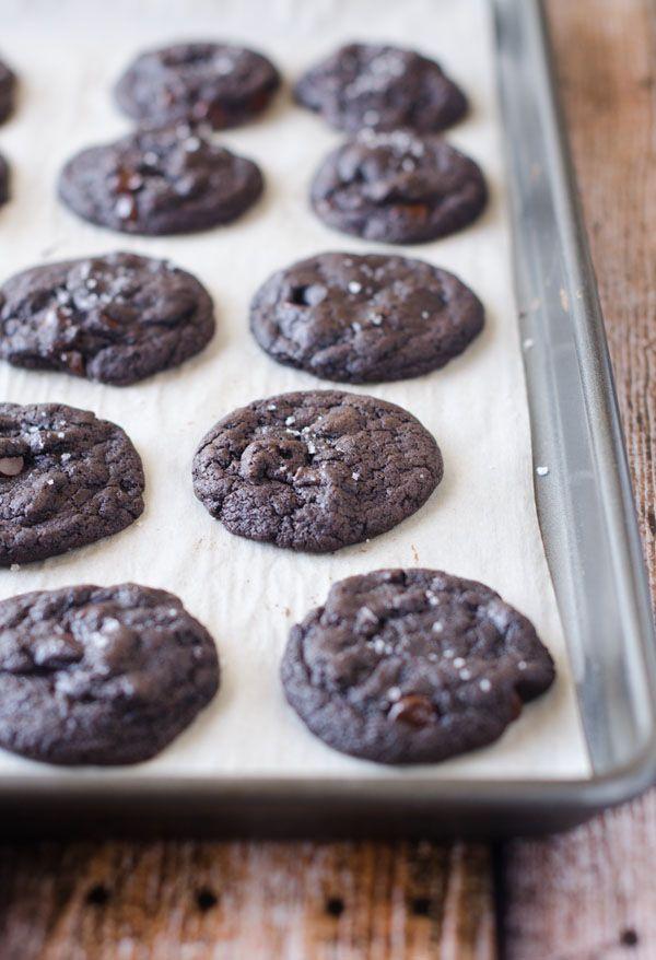 vegan dark chocolate, olive oil, and sea salt cookies