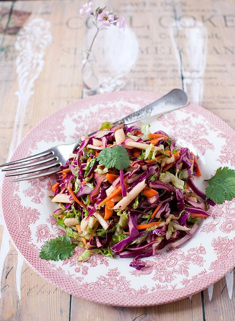 Red cabbage salad with carrots and apples