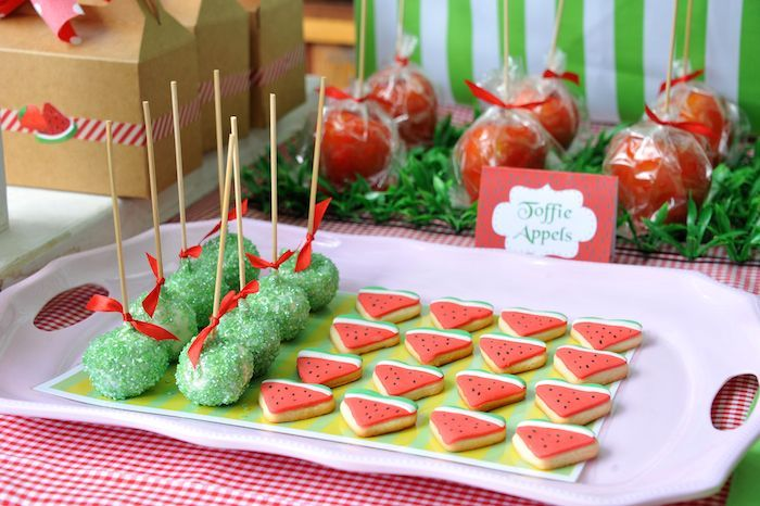 Strawberry and watermelon themed birthday party ideas decor cake - Strawberry themed kitchen decor ...