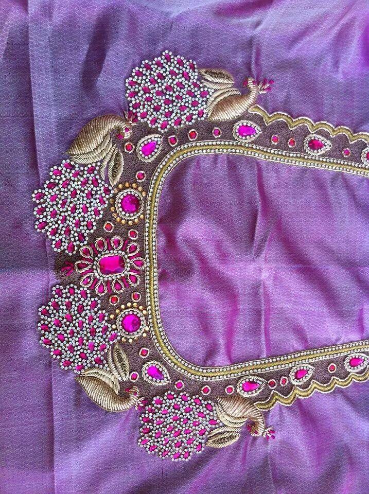 Hand embroidery work blouse makaroka