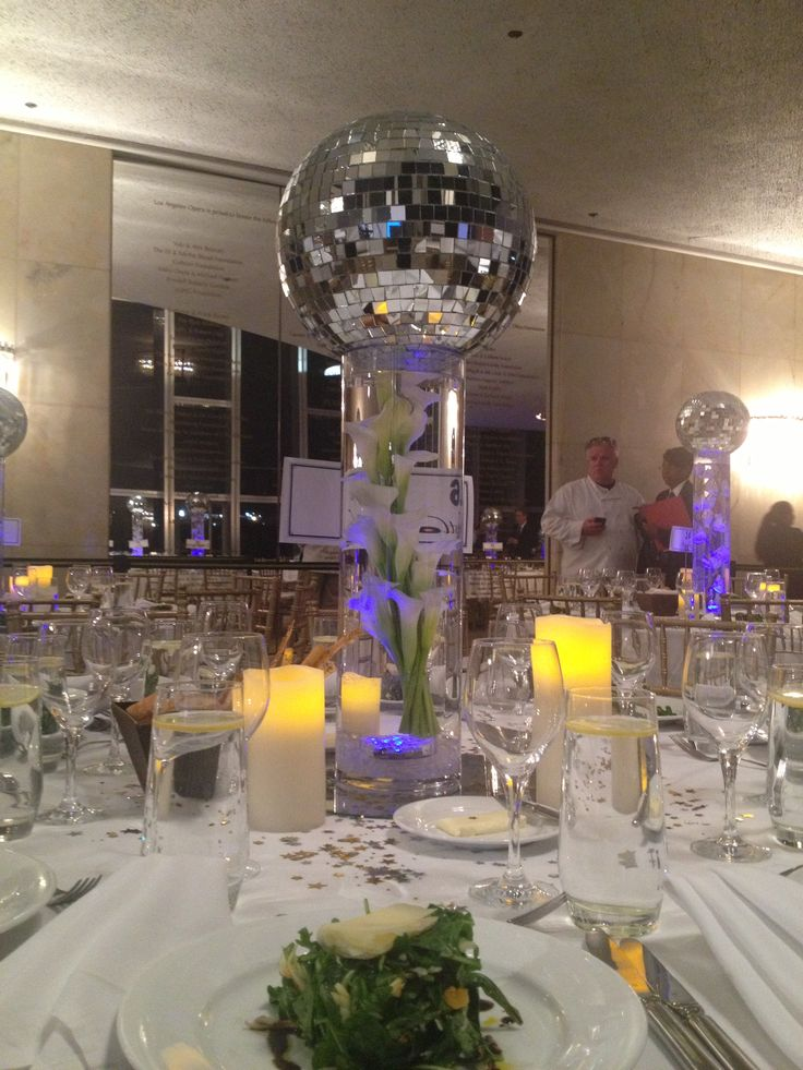 Disco ball centerpiece lola 39 s 61st b 39 day pinterest for 70 s decoration ideas