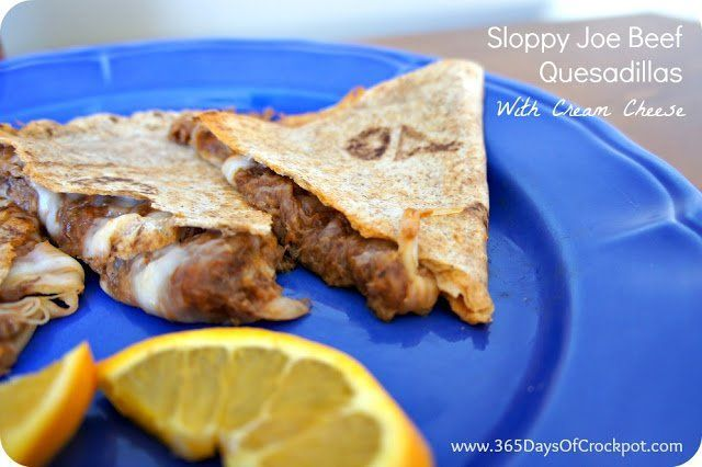 Slow Cooker Sloppy Joe Beef Quesadillas. | Appetizers, Canapes, Dips ...