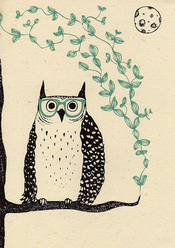 Art Print 'Otis the Owl' A4 Screen printed with by boodleboutique, $23.57