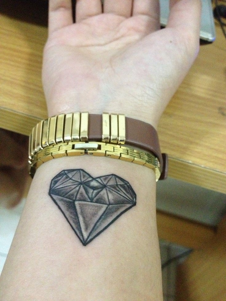 Diamond heart shape tattoo on my wrist tattoos pinterest for Diamond heart tattoo