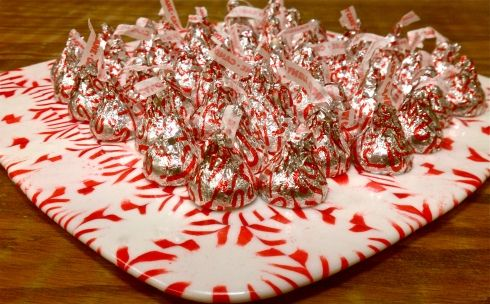 serving tray made out of candy mints!