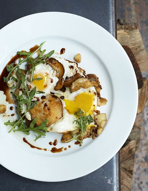 balsamic fried eggs with sauteed porcini mushrooms and mustard greens ...