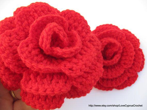Crochet Flower Pattern Rose By Rachel Choi : Tutorial Crochet Pattern Crochet Rose Flower, Large Rose ...