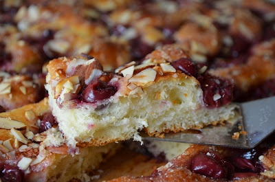 cherry almond focaccia