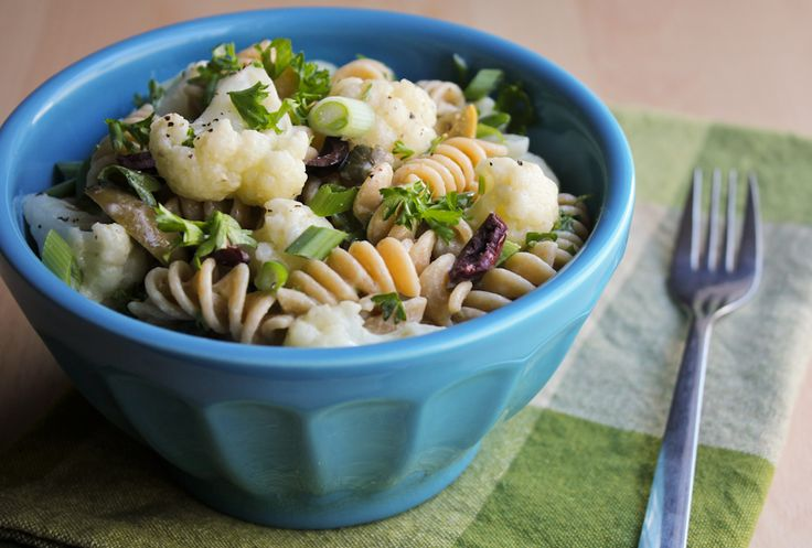 Warm cauliflower pasta salad with capers, olives and mustard dressing ...