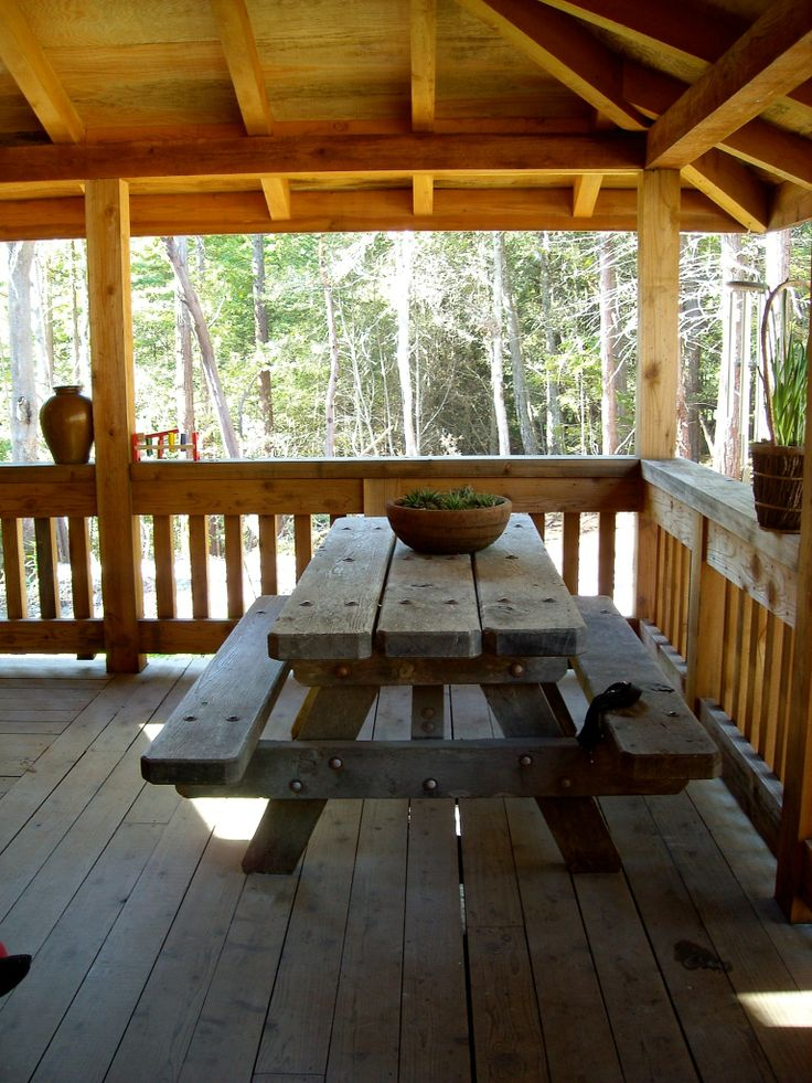 Covered deck rustic cabin life our new home pinterest for Rustic covered decks