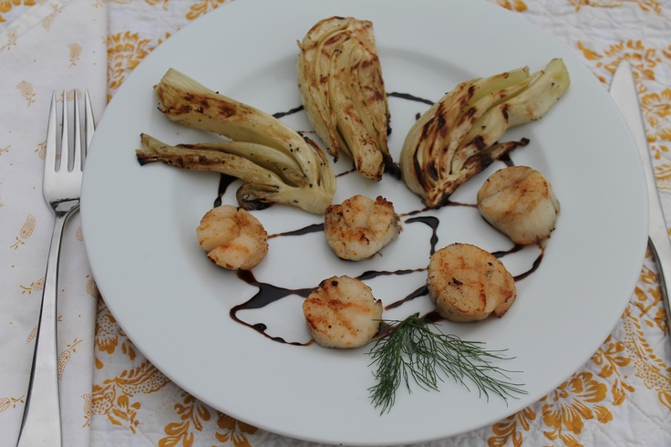 scallops with mint pesto and balsamic syrup grilled scallops and ...