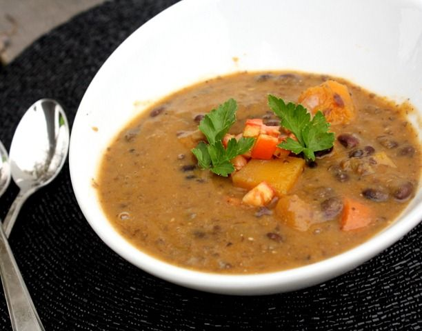 Black Bean + Butternut Soup Recipe — Dishmaps