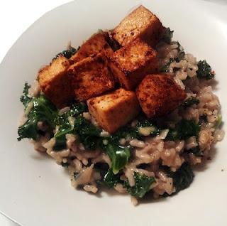 Meyer Lemon & Kale Risotto with Garlic Roasted Tofu #vegan