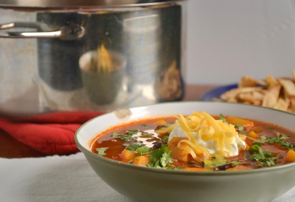 Butternut squash and black bean taco soup (with link to make own taco ...