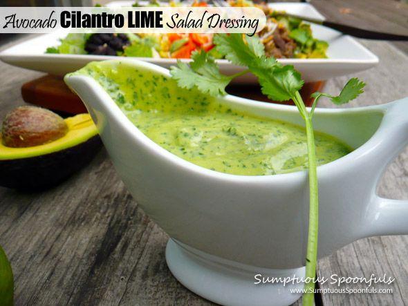 Avocado Cilantro Lime Salad Dressing ~ Sumptuous Spoonfuls #salad # ...