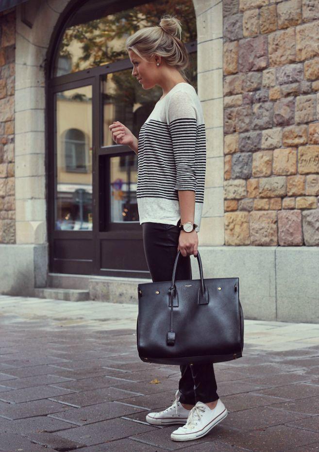 striped 3/4 shirt + black skinnies + white converse