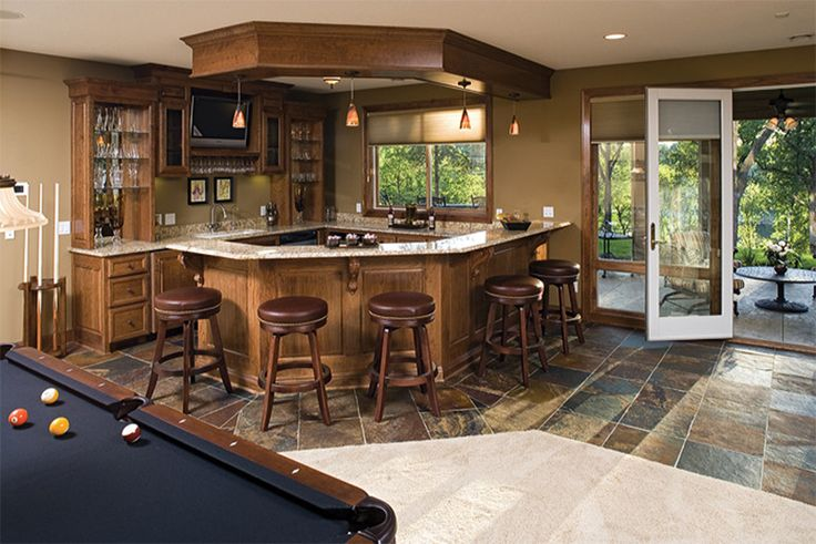 Nice walkout basement bar area new house pinterest for Country house plans with walkout basement