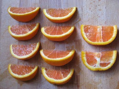 The BEST way to cut an orange--leaves all the pithy white stuff in 2 slices