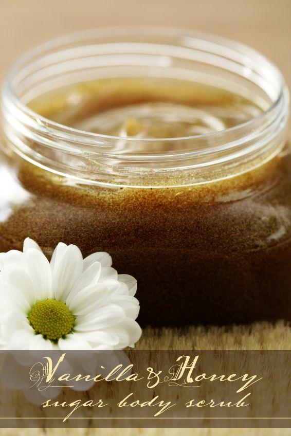 DIY Vanilla and honey sugar scrub. 1 1/3 c. coarse, raw sugar 1 1/3 c ...