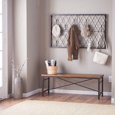 Wood Metal Entryway Hallway Wall Mount Coat Rack Bench Set Home Furni