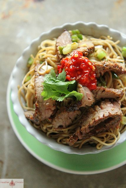 Ginger Scallion Noodles with Spicy Beef by Heather Christo