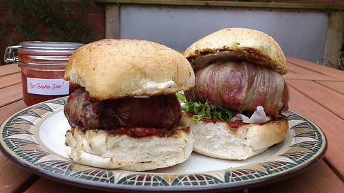 Bacon Wrapped Hamburgers | Food | Pinterest