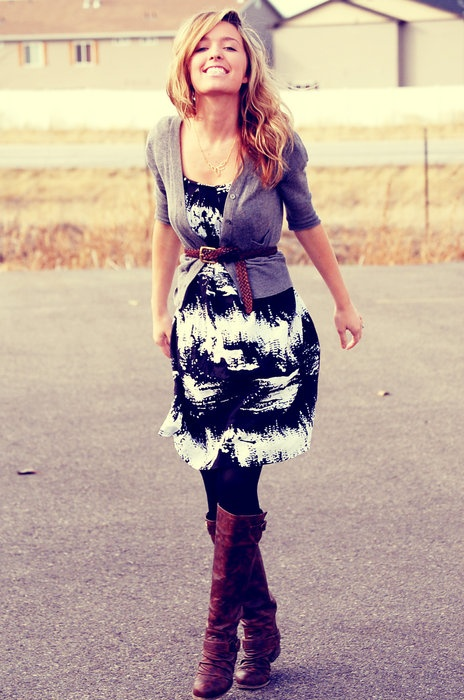 how to wear a dress w/ a cardigan, tights, and boots
