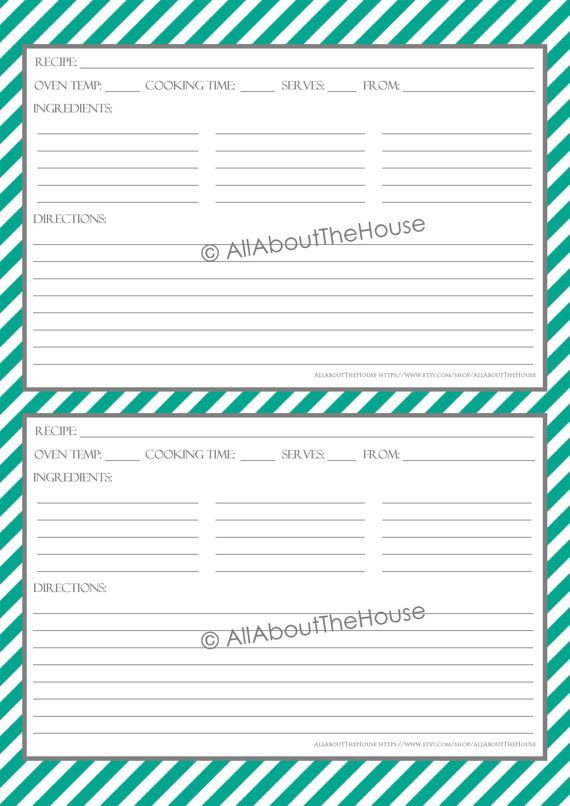 printable recipe card template – Free Recipe Card Templates for Microsoft Word