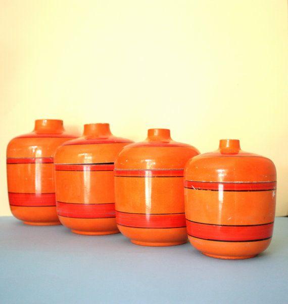 Orange Kitchen Set: ORANGE RETRO CANISTERS Mid Century Kitchen Japan Lacquer