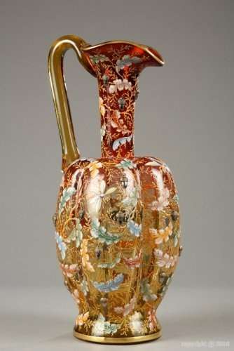 19-го века Мозер Карлсбад Polylobed Ewer в стекле Гравировка и эмалированных c.19th века