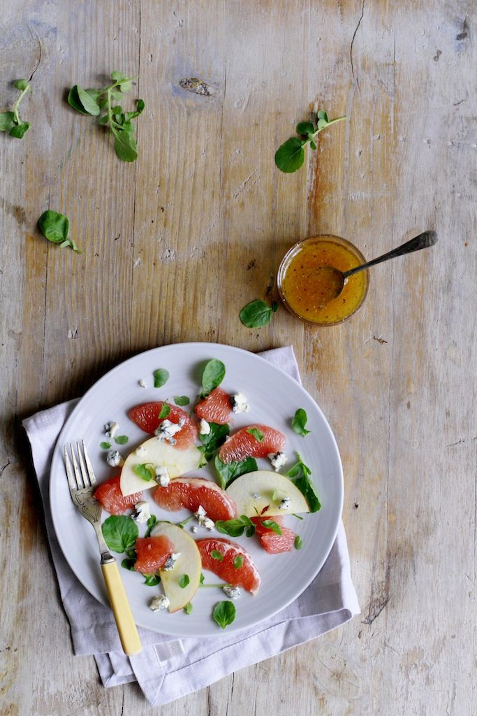 Grapefruit Salad with Apple, Watercress and Blue Cheese
