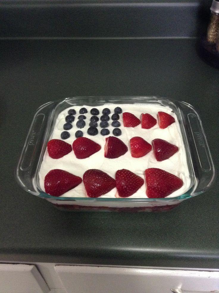 Mini American Flag desert: in 8x8 dish layer Angel food cake, 1/2 cup ...