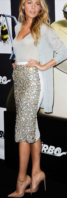 Blake Lively Always chic nude pump sequins pencil skirt