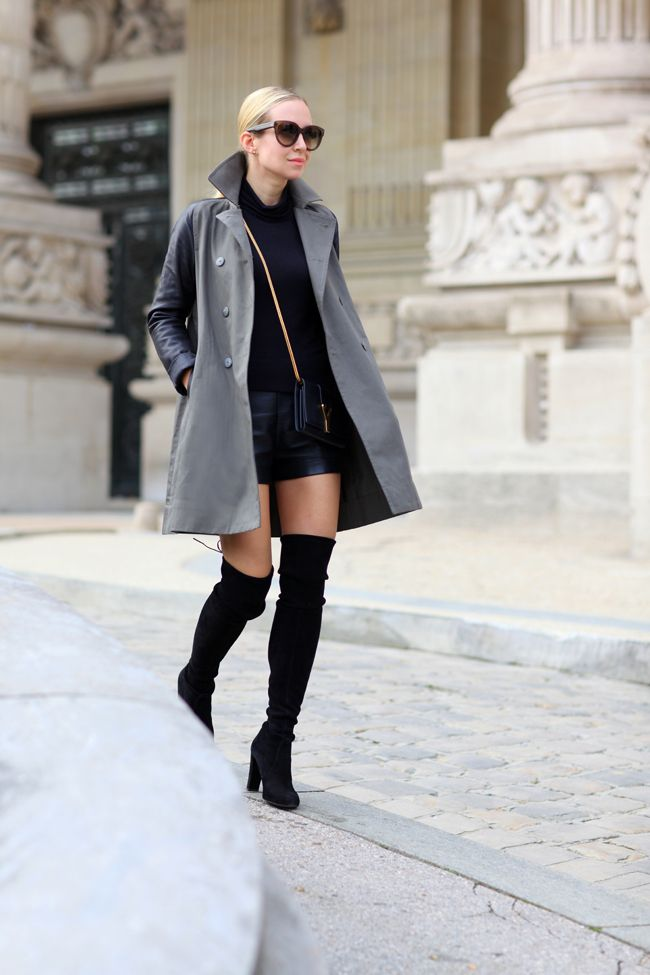 Brooklyn Blonde Strikes again.. on the streets in Paris! Amazing faux leather shorts with over-the-knee boots and trench http://www.brooklynblonde.com/search/label/Outfit%20of%20the%20Day