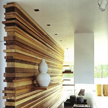houten scheidingswand  Interieur  Pinterest