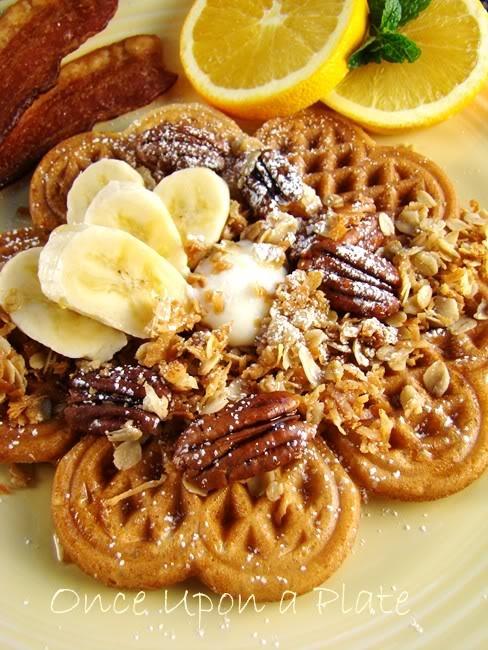 cinnamon waffles with coconut pecan granola and bananas