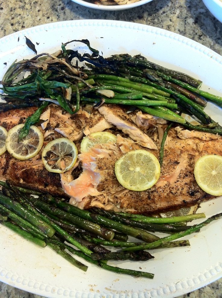 Grilled Salmon with grilled asparagus and ramps