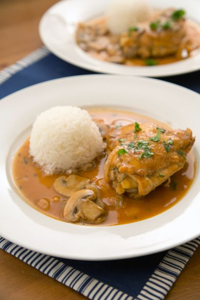 Braised Chicken with Mushrooms | Gourmet | Pinterest